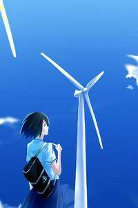 720x1280 Anime Girl Windmill