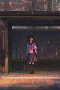 720x1280 Rain Anime Girl Bustand 4k